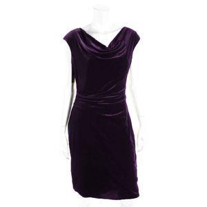 Jessica Howard Purple Velvet Crowl Neck Dress | 6